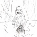 After Billy Childish Girl Pencil Drawing B2-16 by Artist Dot