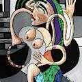 Almost Nude Woman With Tambourine by Anthony Falbo