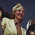American Airlines Stewardess by Michael Ochs Archives