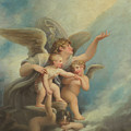 An Angel And Putti  by Maria Hadfield Cosway