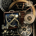 Antique Compass, Charts, Ships Wheel by Ralph Mercer