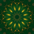 Antique Green And Gold Mandala by Rachel Hannah