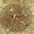 Antique Map Of Mechelen - Malines In Belgium  by Steve Estvanik