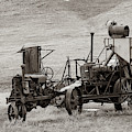 Antique Tractor And Bailer Black And White by Michael Chatt