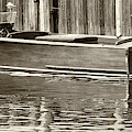 Antique Wooden Boat By Dock Sepia Tone 1302tn by Rick Veldman