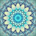 Aqua Blue Detailed Mandala  by Sheila Wenzel