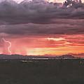 Arizona Sunset Lightning  by Chance Kafka