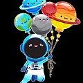 Astronaut With Planet Balloons Outta Space by Soju And Sake