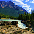 Athabasca Falls In Jasper National Park  by Ola Allen
