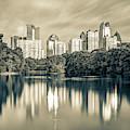 Atlanta Sepia Skyline From Piedmont Park by Gregory Ballos