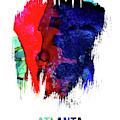 Atlanta Skyline Brush Stroke Watercolor   by Naxart Studio