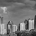 Atlanta Skyline Monochrome Panorama Through The Trees by Gregory Ballos