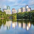 Atlanta Skyline On Lake Clara Meer - Piedmont Park View 1x1 by Gregory Ballos