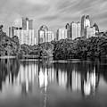 Atlanta Skyline On Lake Clara Meer - Piedmont Park View Monochrome 1x1 by Gregory Ballos