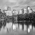 Atlanta Skyline On Lake Clara Meer - Piedmont Park View Monochrome by Gregory Ballos