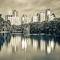 Atlanta Skyline On Lake Clara Meer - Piedmont Park View Sepia 1x1 by Gregory Ballos