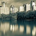 Atlanta Skyline Panorama From Piedmont Park - Sepia by Gregory Ballos