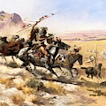 Attack On The Wagon Train by Charless Russell