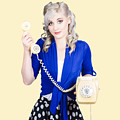 Attractive Blond Female Secretary On Vintage Phone by Jorgo Photography - Wall Art Gallery