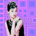Audrey Hepburn Breakfast At Tiffanys In Mca Mid Century Abstract Squares 20190219 M100 by Wingsdomain Art and Photography