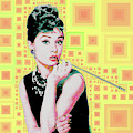 Audrey Hepburn Breakfast At Tiffanys In Mca Mid Century Abstract Squares 20190219 P41 by Wingsdomain Art and Photography
