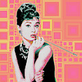 Audrey Hepburn Breakfast At Tiffanys In Mca Mid Century Abstract Squares 20190219 by Wingsdomain Art and Photography