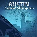 Austin Congress Bridge Bats In Blue Silhouette by Austin Welcome Center