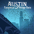 Austin Congress Bridge Bats In Blue Silhouette by Weird Austin Photos