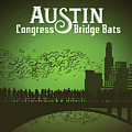 Austin Congress Bridge Bats In Green Silhouette by Weird Austin Photos