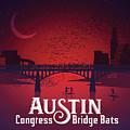 Austin Congress Bridge Bats In Red Silhouette by Austin Welcome Center