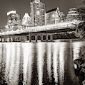 Austin Skyline Over Lady Bird Lake Reflections - Sepia Edition by Gregory Ballos