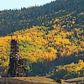 Autumn Aspen Leaves And Goldfield Mine by Steve Krull