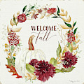Autumn Celebration 1 - Welcome Fall White Pumpkin Floral Leaf Leaves Wreath by Audrey Jeanne Roberts
