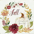 Autumn Celebration 2 - Fall Is My Favorite Season Of All White Pumpkin Floral Wreath  by Audrey Jeanne Roberts