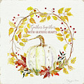 Autumn Celebration 1 - Gather Together With Grateful Hearts White Pumpkin Fall Leaves Red Berries by Audrey Jeanne Roberts