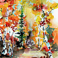 Autumn Forest Symphony Watercolors by Ginette Callaway