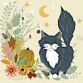 Autumn Garden Moonlit Kitty Cat by Little Bunny Sunshine
