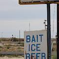 Bait Ice Beer Sign Near Salton Sea by Colleen Cornelius