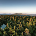 Balsam Lake Mountain Sunset Moon by Brad Wenskoski