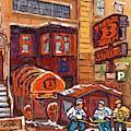 Bar B Barn Spare Ribs Restaurant Rue Guy Montreal Landmark Hockey Art C Spandau Winter Street Scene  by Carole Spandau