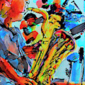 Baritone Sax Player Modern Music Art  by Ginette Callaway