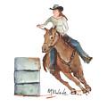 Barrel Racing Watercolor Painting Kmcelwaine Pe094 by Kathleen McElwaine