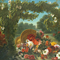 Basket Of Flowers  by Eug  ne Delacroix