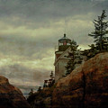 Bass Harbor Light Through The Boulders by Jeff Folger