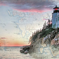 Bass Harbor Lighthouse On A Chart by Jeff Folger