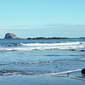 Bass Rock And Beach At North Berwick by Victor Lord Denovan