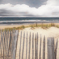 Beach Fences On The Dunes Watercolor Painting by Debra and Dave Vanderlaan