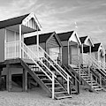 Beach Huts Sunset In Black And White Square by Gill Billington