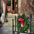 Beacon Hill Christmas Doorway by Joann Vitali
