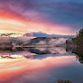 Bear Pond Sunset With Fog Rolling In by Darylann Leonard Photography